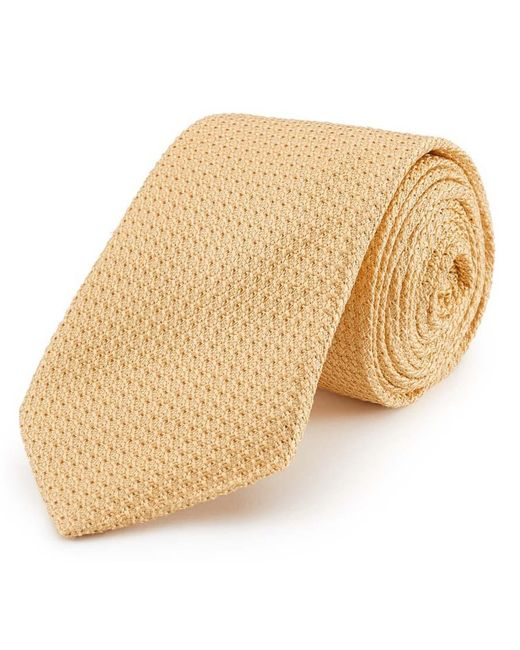 New & Lingwood Yellow Grenadine Weave Silk Tie for men