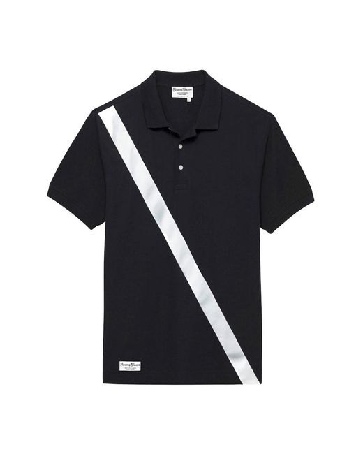 Rowing Blazers Black Cotton Authentic Polo Shirt With Satin Stripe for men