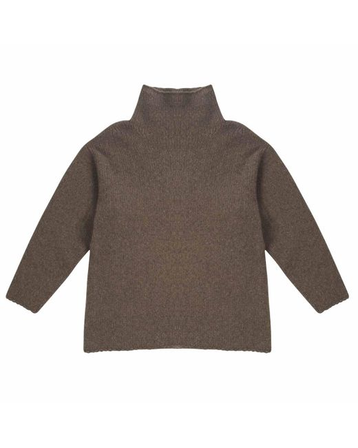 CONNOLLY Brown Taupe Chunky Long Sleeve Turtleneck Jumper for men