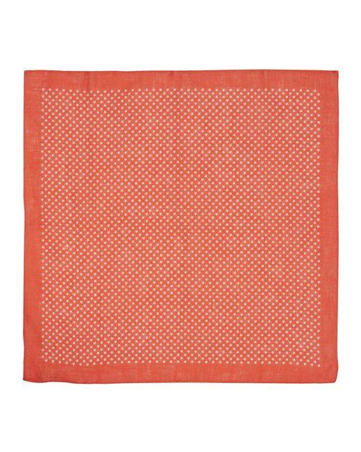 Calabrese 1924 Red Star-print Linen Pocket Square for men
