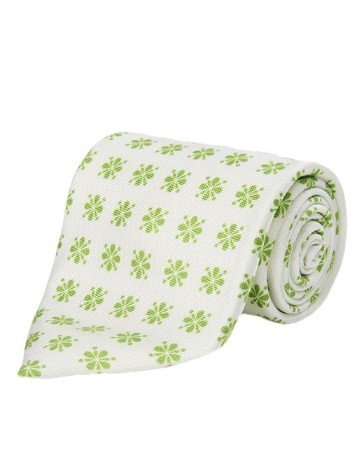Calabrese 1924 - White And Light Green Floral Silk Tie for Men - Lyst