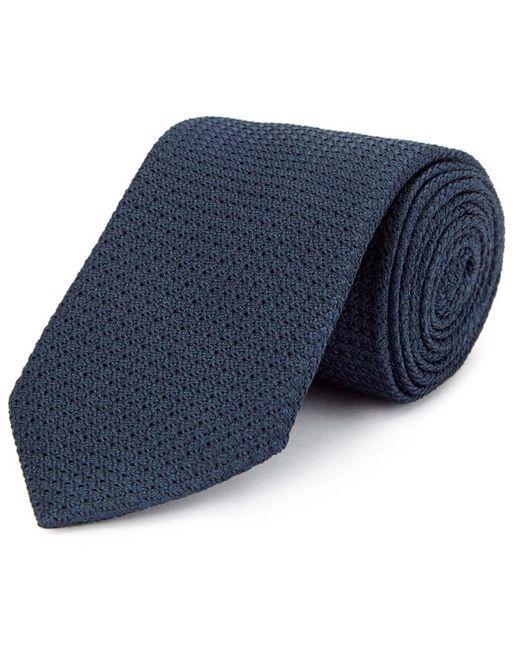 New & Lingwood Blue Navy Grenadine Weave Silk Tie for men