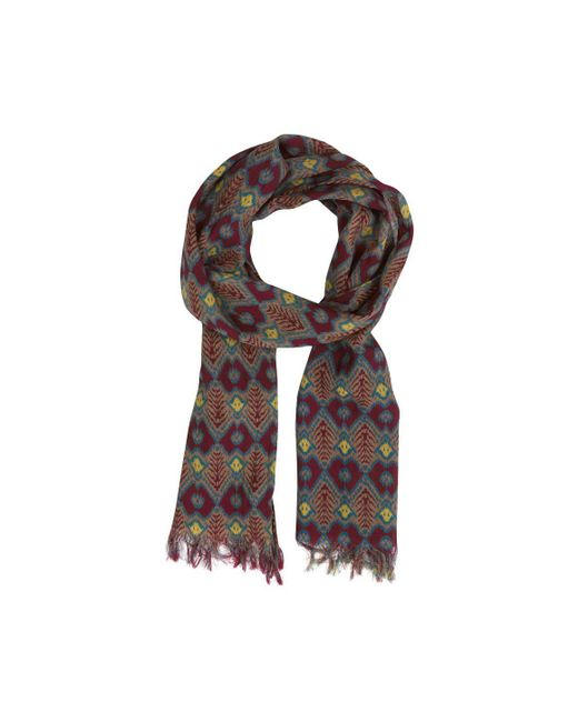 Anderson & Sheppard - Red Wool And Silk Ikat Scarf for Men - Lyst