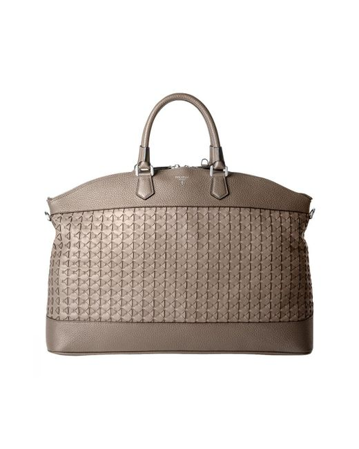 Serapian - Gray Grey Cachemire Lamb And Calf Leather Tote Bag for Men - Lyst