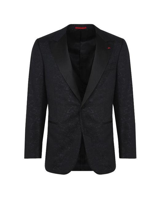 Isaia Black Paisley Brocade Dinner Jacket for men