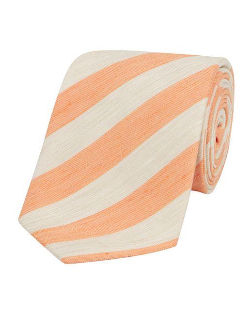 Calabrese 1924 Orange-striped Silk-linen Ibiza Tie for men