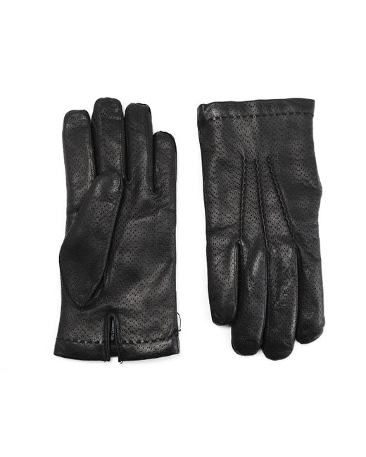 Omega Black Cashmere Lined Perforated Lambskin Gloves for men