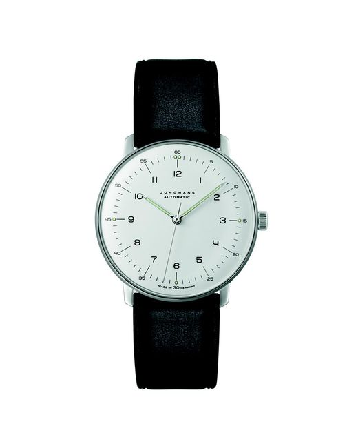Junghans Black Leather Max Bill Automatic Watch for men