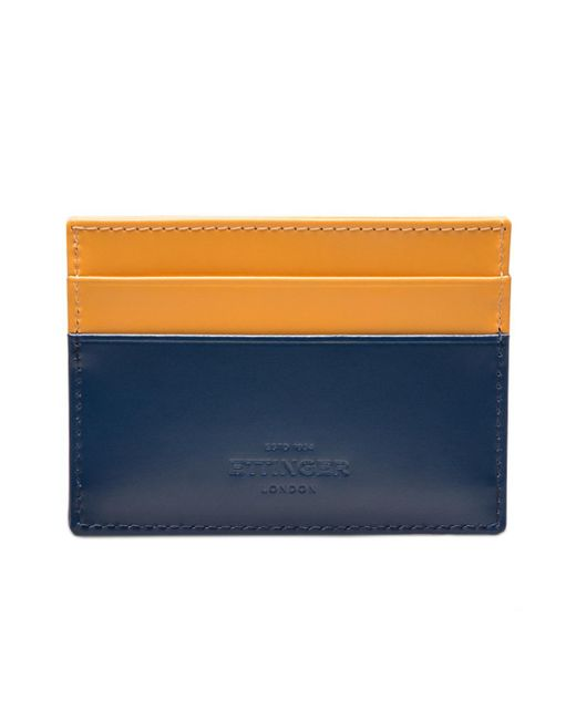 Ettinger - Petrol Blue And London Tan Flat Credit Card Case, Bridle Hide Collection for Men - Lyst