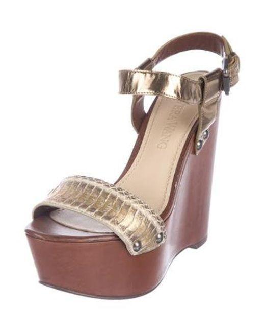 4fe967f1e3d30a ... Vera Wang - Metallic Platform Wedge Sandals - Lyst ...