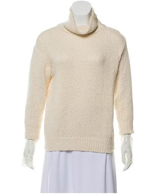 7489aa584a Brunello Cucinelli - Natural Lace-accented Mock Neck Sweater Neutrals - Lyst  ...