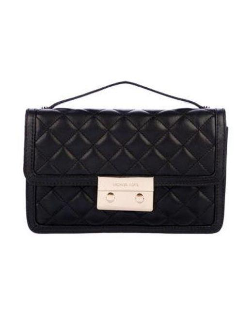 Michael Kors - Metallic Quilted Leather Flap Bag Black - Lyst ... cb47db529d