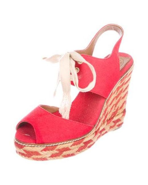 fa3c45559aef ... Tory Burch - Red Woven Platform Wedges - Lyst ...
