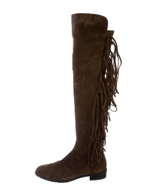 Stuart Weitzman Fringe-Trimmed 50/50 Boots cheap sale best place clearance online ebay outlet store locations heqGV