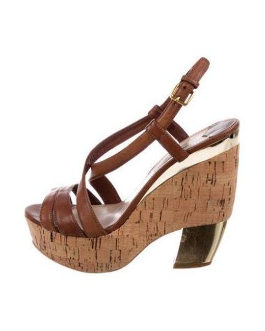 a989e188d32 Miu Miu - Metallic Miu Leather Platform Sandals Brown - Lyst ...