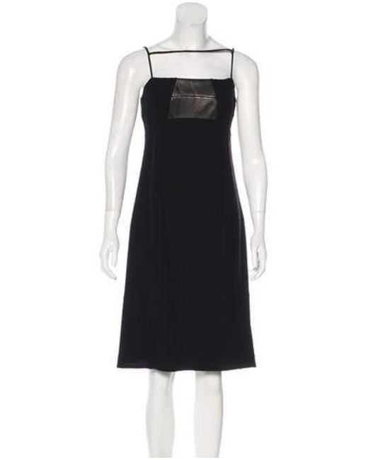Ralph Rucci - Black Leather-trimmed Knee-length Dress - Lyst