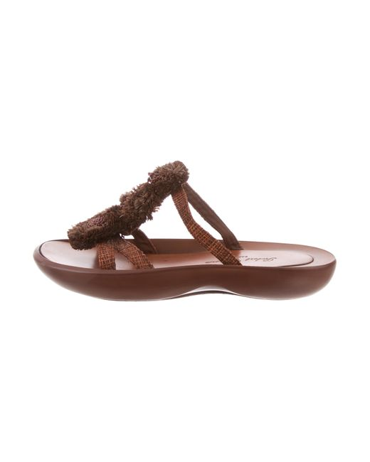 clearance 2014 newest shop for sale Robert Clergerie Clergerie Paris Embellished Raffia Slide Sandals outlet low price fee shipping C92eEFoYYr