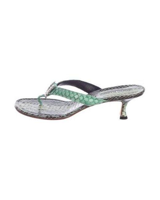 bc425fd3ef76 Manolo Blahnik - Snakeskin Slide Sandals Multicolor - Lyst ...