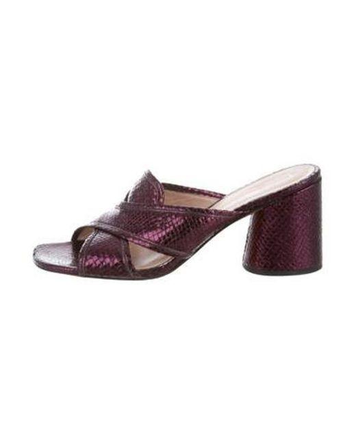 04de49e6563 Marc Jacobs - Purple Metallic Embossed Slide Sandals - Lyst ...