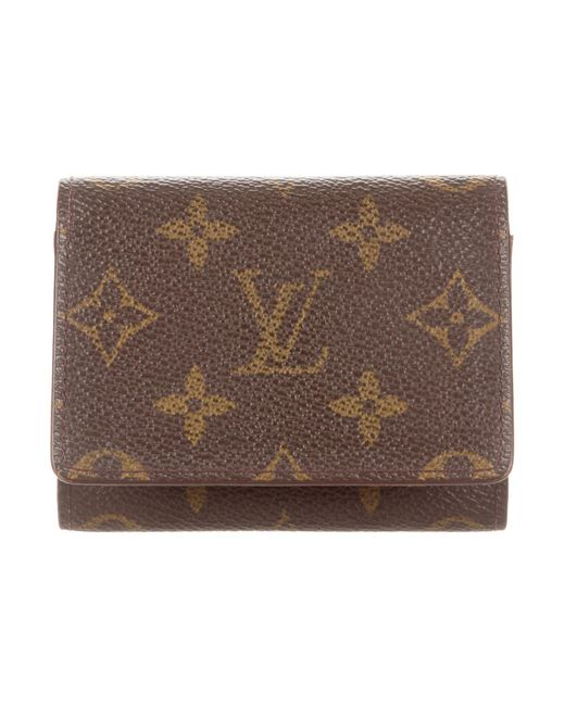 louis vuitton monogram business card holder brown in natural lyst