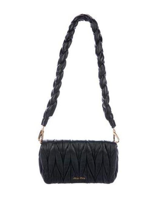 795d167d550d Miu Miu - Metallic Miu Matelassé Shoulder Bag Black - Lyst ...