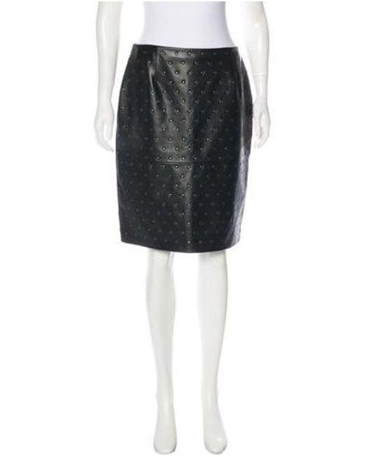 Lanvin - Black Studded Leather Skirt - Lyst