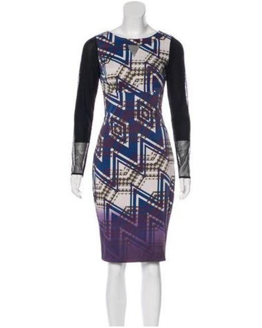 9a7cf3c2 Karen Millen - Purple Mesh-trimmed Printed Dress - Lyst ...