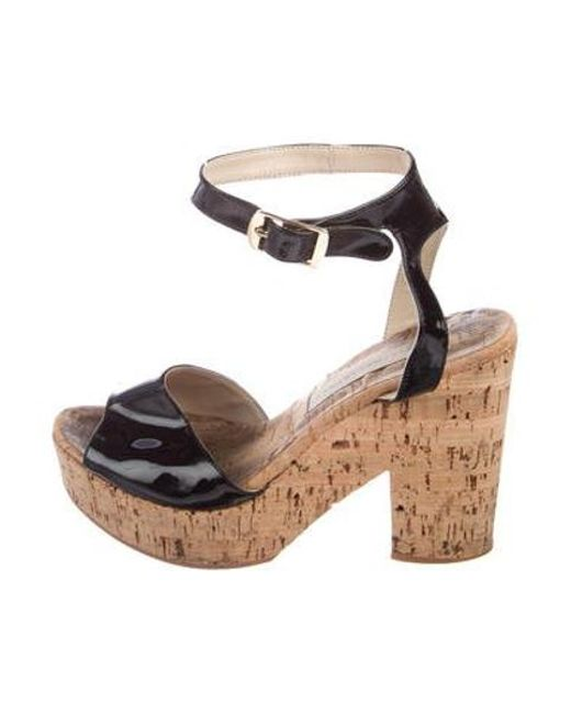 7a6adc93d5ff Stella McCartney - Black Vegan Leather Slingback Sandals - Lyst ...