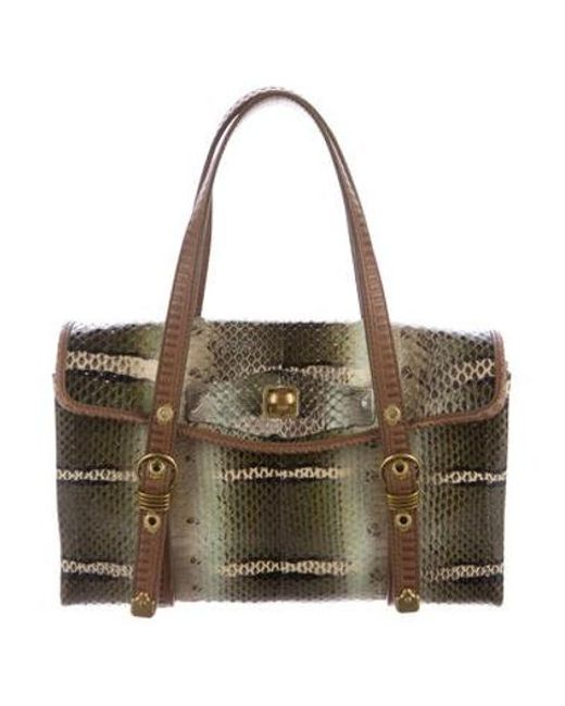 287b8d115004 Bottega Veneta - Metallic Snakeskin Handle Bag Beige - Lyst ...
