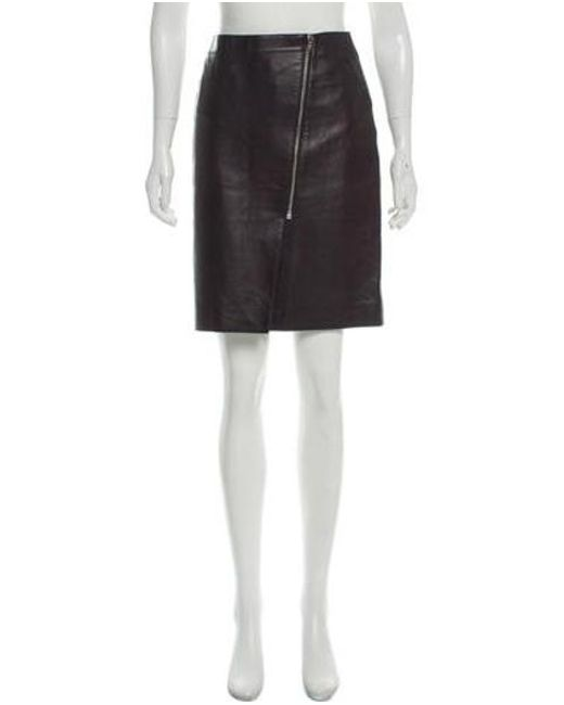 c3f168591f8043 Alexander Wang - Metallic Knee-length Leather Skirt Black - Lyst ...