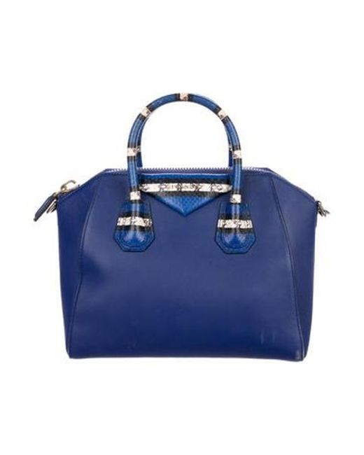 b40f8183e3 Givenchy - Metallic Medium Antigona Satchel Blue - Lyst ...
