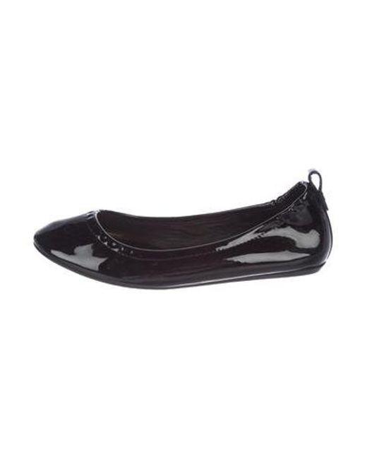 9a35da29b87 Lanvin - Metallic Patent Leather Ballet Flats Black - Lyst ...
