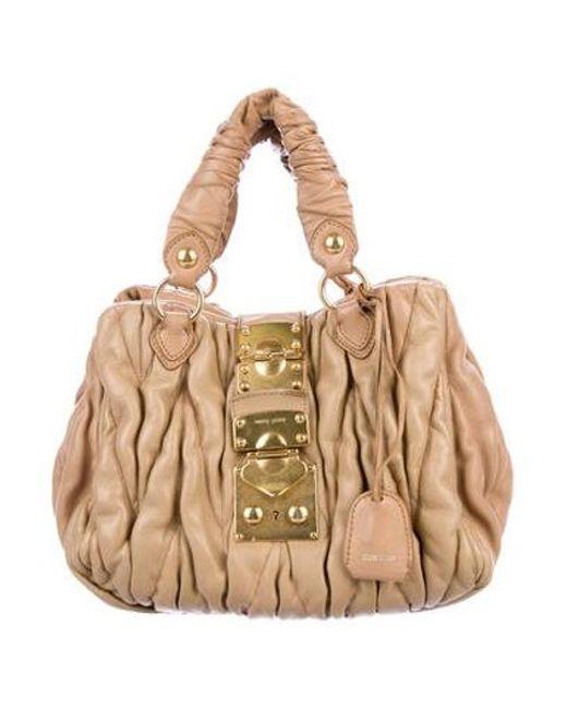 d21a73dc841b Miu Miu - Metallic Miu Matelassé Coffer Bag Tan - Lyst ...
