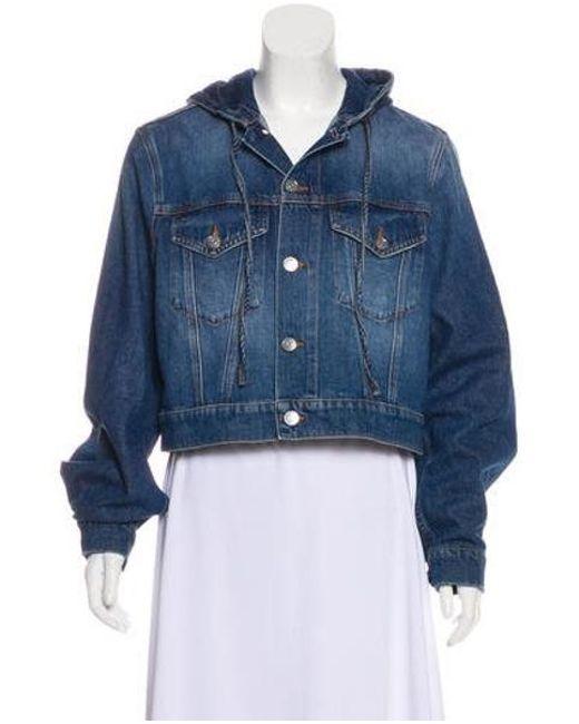 65c8e417da9 Ganni - Blue Cropped Denim Jacket - Lyst ...