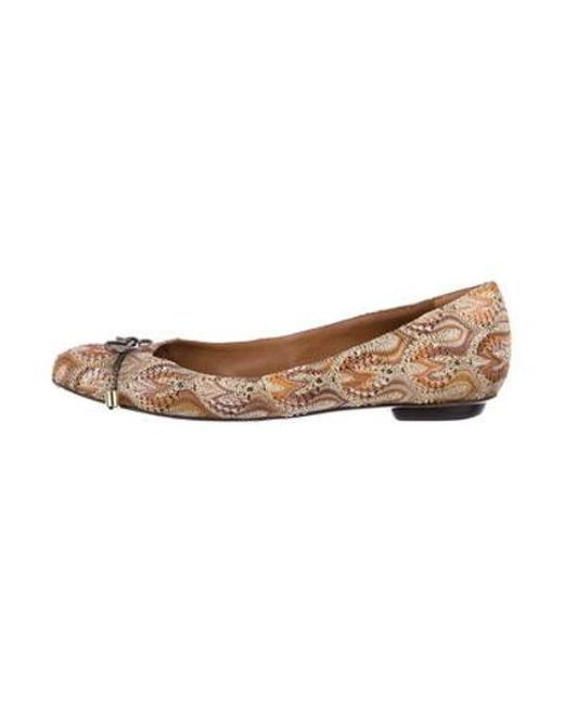2a6aa7721c2662 Missoni - Brown Patterned Knit Flats - Lyst ...
