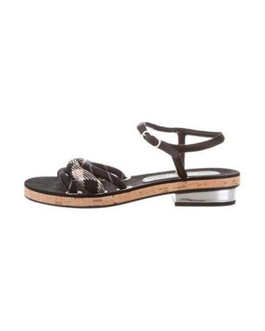2e3b3087b7f70 Chanel - Metallic Rope Strap Sandals Black - Lyst ...