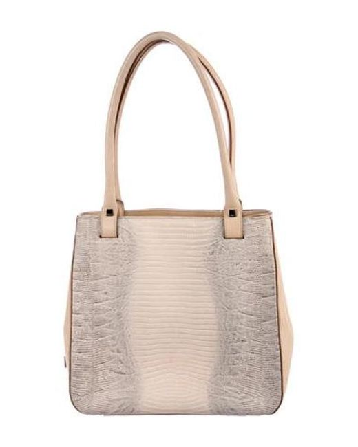 912a5a8f26e Ferragamo - Metallic Embossed Leather Tote Grey - Lyst ...