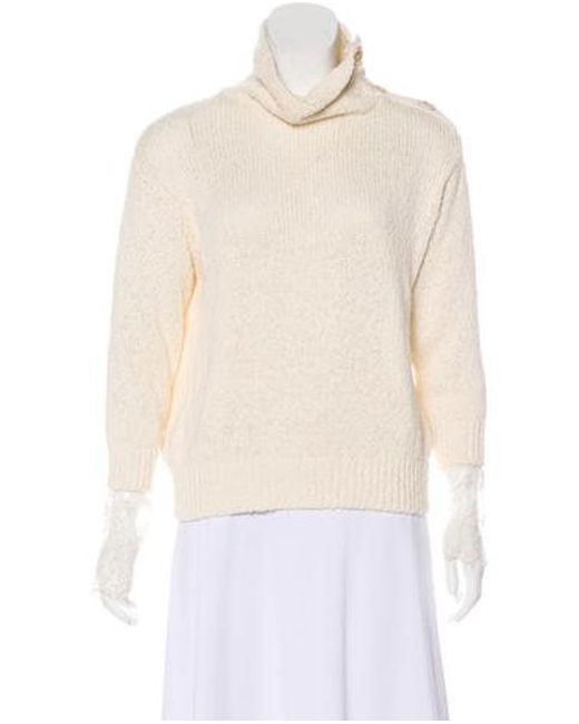46a527069d Brunello Cucinelli - White Lace-trimmed Knit Sweater - Lyst ...