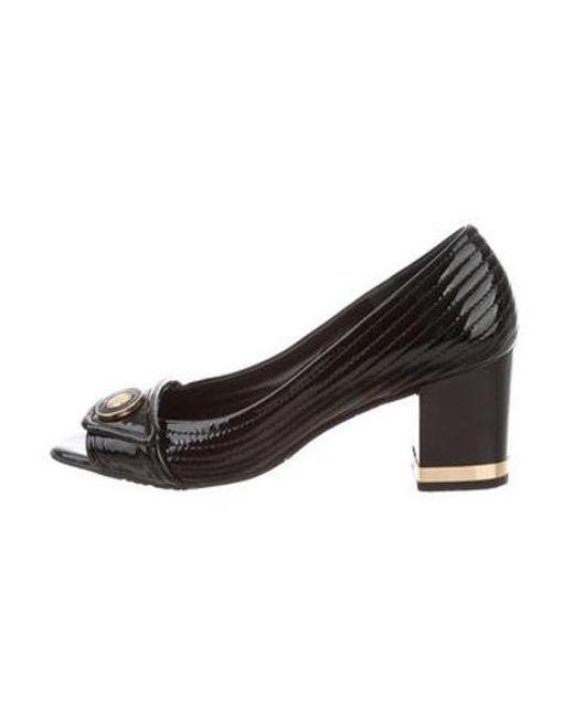 79c9dab7ce28ab Tory Burch - Metallic Patent Leather Open-toe Pumps Black - Lyst ...