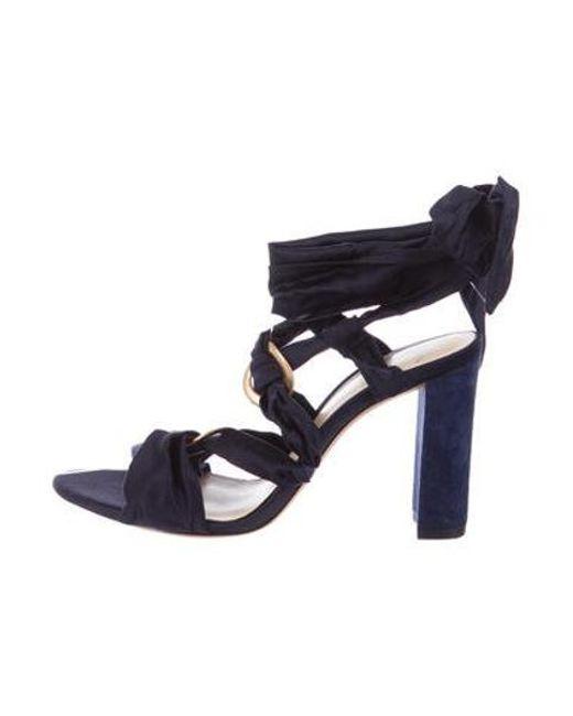 0046dfdbd741 Lyst alexandre birman satin lace up sandals navy in blue jpg 520x650 Navy  blue lace up