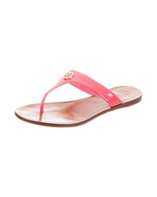 2aa428866108a ... Tory Burch - Metallic Patent Leather Sandals Pink - Lyst ...