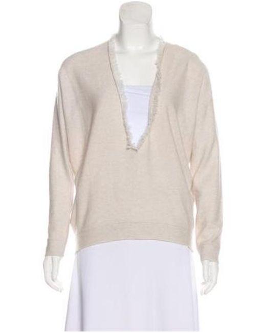 27ddab813d Brunello Cucinelli - Natural Cashmere Frayed Sweater W  Tags Neutrals - Lyst  ...