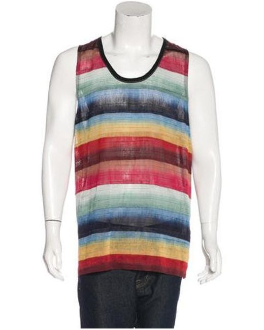 Lanvin - Natural Ribbon-embroidered Tank W/ Tags Black for Men - Lyst