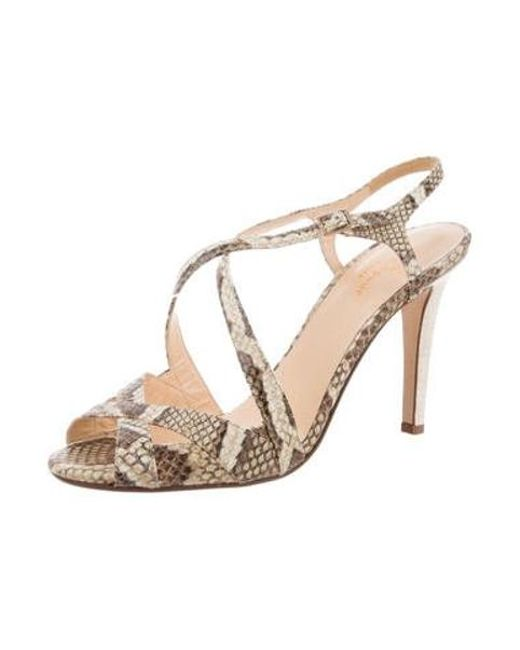 c85e77d1bb8f ... Kate Spade - Metallic Isadora Embossed Sandals Tan - Lyst ...