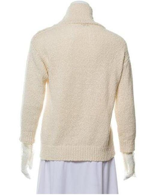 ad71fcdd9f ... Brunello Cucinelli - Natural Lace-accented Mock Neck Sweater Neutrals -  Lyst