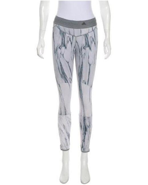 1b64f3c5ab47b Adidas By Stella McCartney - Gray Printed Mid-rise Leggings Grey - Lyst ...