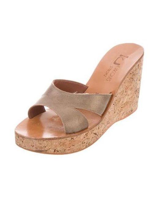 393de25aa48 ... K. Jacques - Metallic Suede Wedge Sandals Gold - Lyst ...