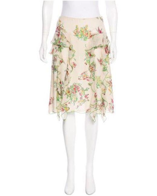 Anna Sui - Silk Floral Print Skirt Multicolor - Lyst