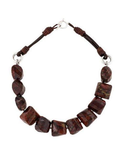 Brunello Cucinelli - Metallic Jasper Bead Necklace Silver - Lyst