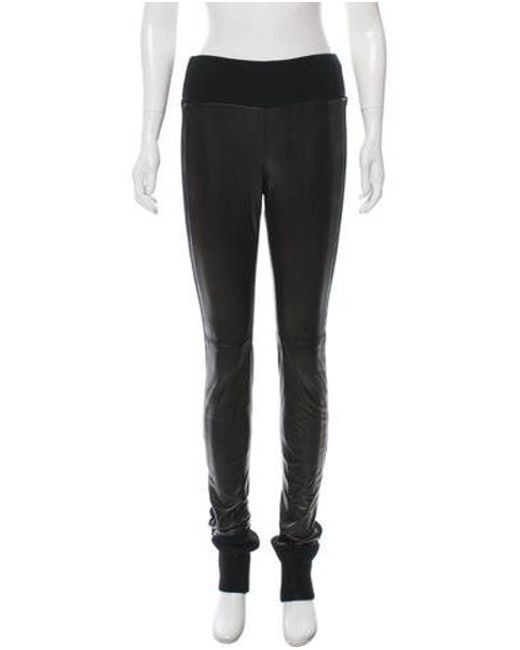 Diane Von Furstenberg Black Leggy Leather Pants W Tags Lyst